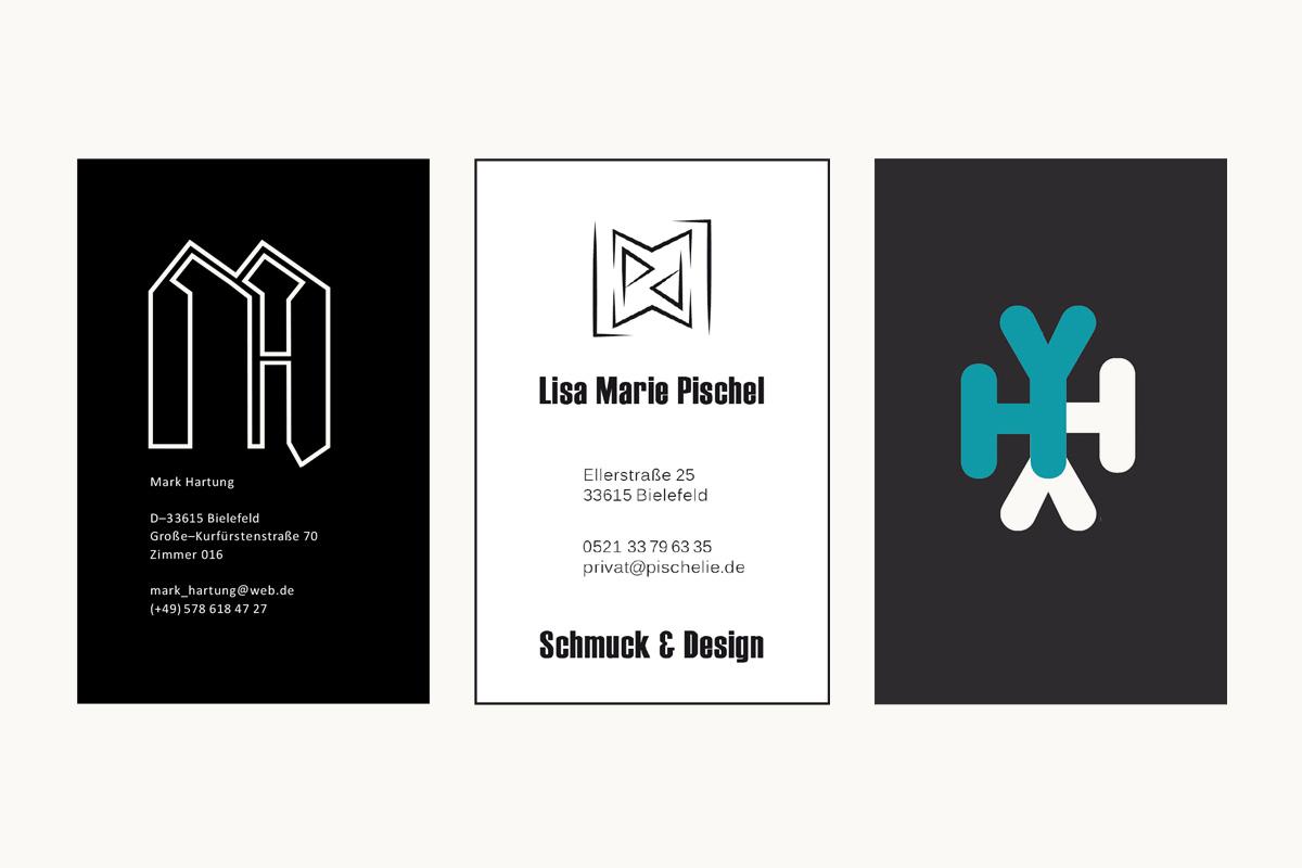 Visitenkarten von Mark Hartung, Lisa Marie Pischel und Heesun Yi, FH Bielefeld, WiSe 13/14.