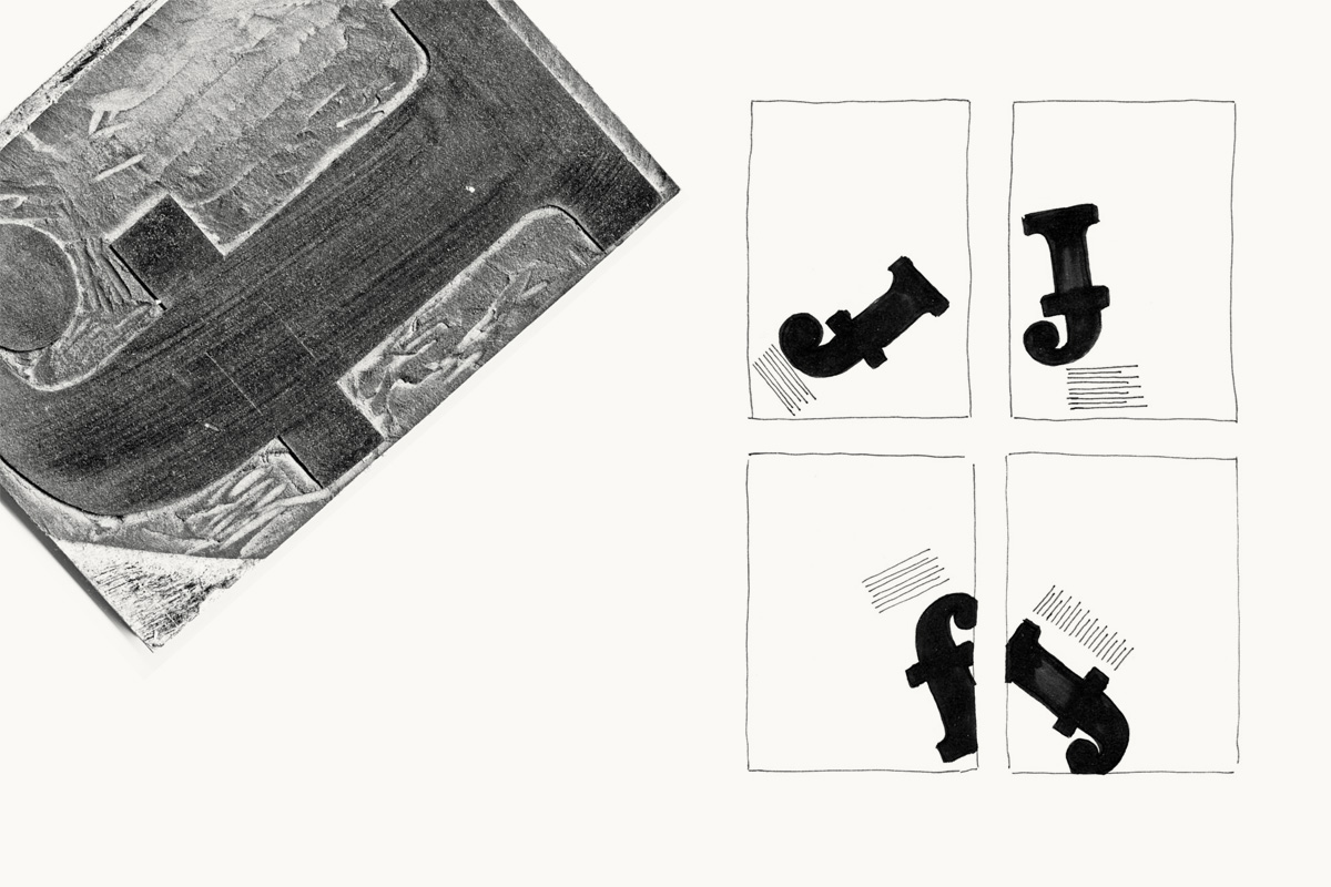 Layout-Skribbles und Linolbuchstabe von Lino Teuteberg, FH Potsdam, SoSe 2009.