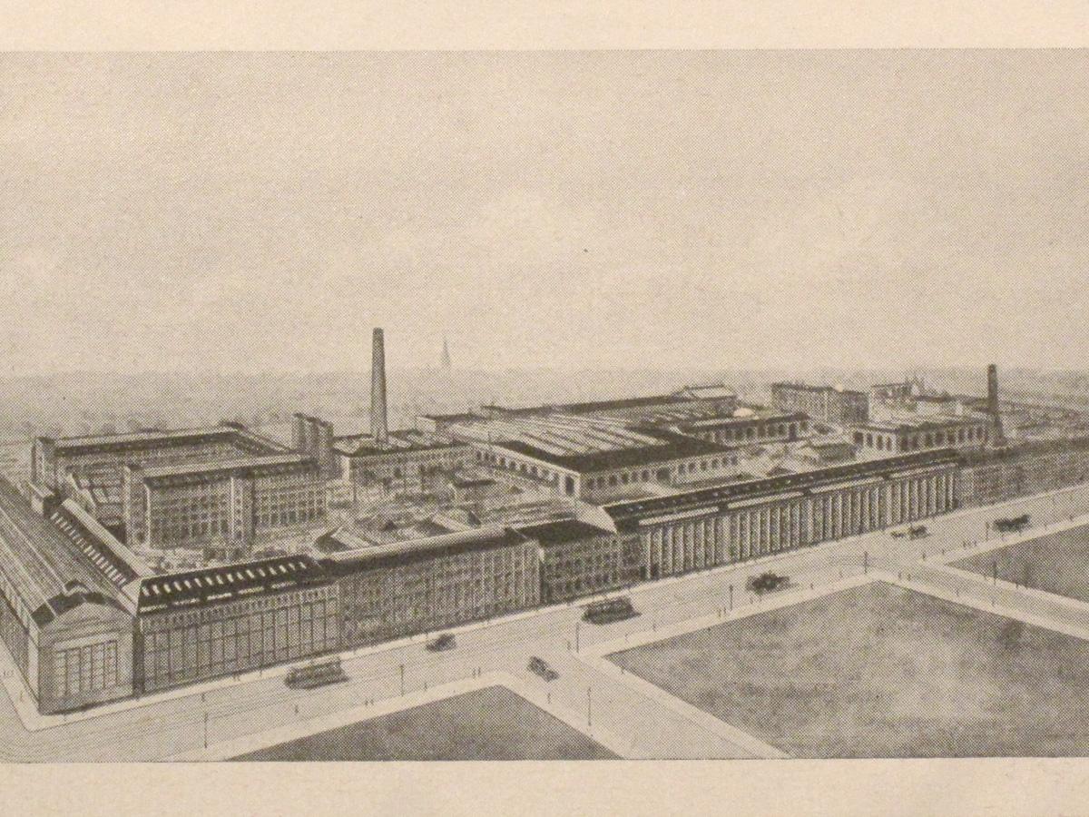 Abb.2: Darstellung des AEG-Geländes aus einer Anzeige von 1916, im Vordergrund liegt die Voltastraße.