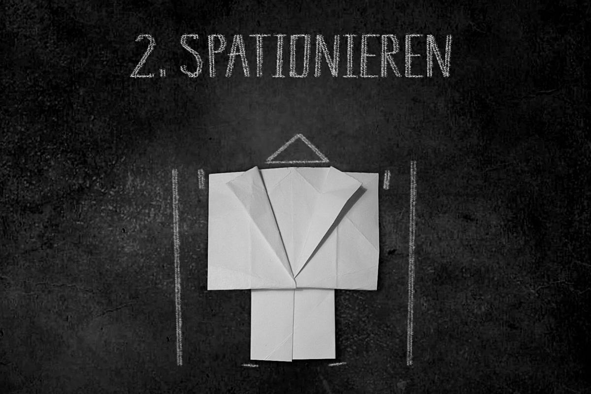 Zwischentitel »Spationieren« in der Dokumentation von Wenke Kramp, FH Potsdam, WiSe 10/11.