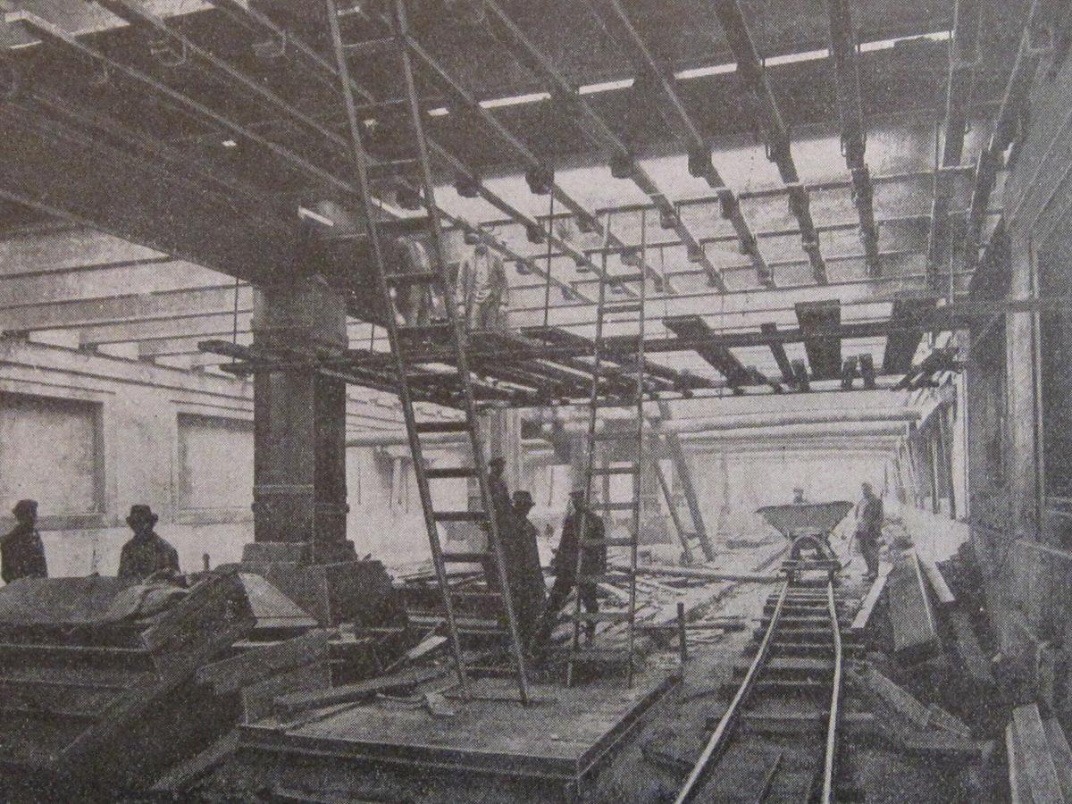 Abb.3: U-Bahnhof Voltastraße im Bau, aus: AEG-Mitteilungen, September 1918.